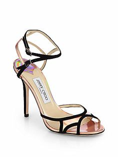 Jimmy Choo Rocks Iridescent Leather & Suede Sandals