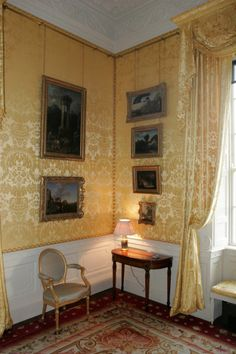 Castleton Cox, Southern Ireland. Restoration of the pure silk wall covering, window drapes and upholstery in the State apartments in pale gold. #CastleTownCox #curtains #drapes #silk #yellow #damask #fabric #design #weaving www.humphriesweaving.co.uk