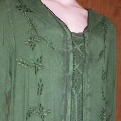 Handmade plus size rayon shirt in gorgeous green Beautiful forest green blouse with crinkle inset and bodice tie, resembles two pieces. Delicate green on green embroidery, lightweight fabric and very flowy fit with a  tie back, this elegant and dressy top is a treat to wear. Holy Clothing Tops Tunics