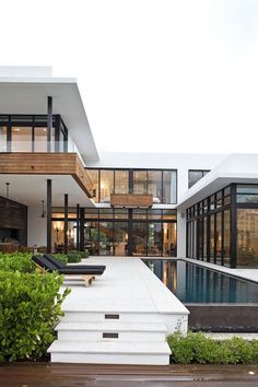 Long pool. House with natural light