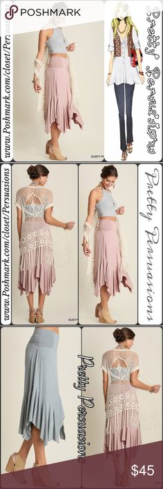 """NWT Blush Handkerchief Midi Skirt Measurements Medium  Length: 35.5"""" (at longest) 27"""" at shortest  Waist: 28"""" Hips: 32""""  Features  • the softest material you'll ever wear w/stretch • wide waist (fold over optional, but not needed) • handkerchief hemline • relaxed, easy flowy fit   NOTE: Measurements are taken unstretched. This will stretch to fit & is true to size.   * Pairs perfectly w/our crochet fringe hem long cardigan vest!   Bundle discounts available  No pp or trades  Item #…"""
