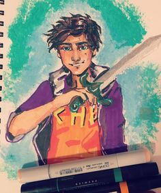 happy birthday Rick riordan!!! It's been too long since I did #PercyJackson fanart so here's a quick sketch I did with #copicmarkers and #prismacolor ! #myart #marker #fanart #pjo #percyjackson #sword #books #doodle