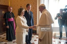 Pope Francis meets Grand Duchess Maria Teresa and Grand Duke Henri of Luxembourg at his private library in the Apostolic Palace on March 21, 2016 in Vatican City, Vatican. During the audience the Royal Family of Luxembourg gave the Holy Father a family portrait, with the Spanish-language dedication, 'To our Pope Francis, with the respectful and filial affection our whole family.' Pope Francis gave the family a medal of the pontificate and copies of his Apostolic Exhortation, Evangelii…