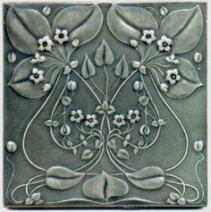 -Belgian-Art-Nouveau-Flower-Tile-