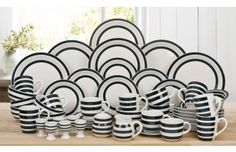 Black and white striped 6 person dinner set. To match my pretty new teapot!