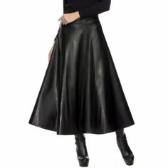 Zeagoo Women Fashion Faux Leather High Waist Pleated Swing Maxi Skirt