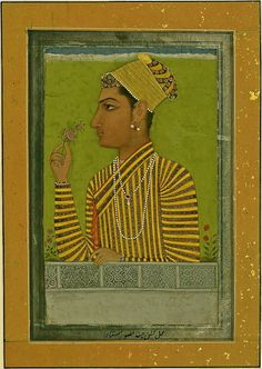 18th C. Mughal miniature portrait of a Young Nobleman wearing an earring. India.