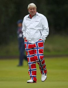 John Daly sporting Norwegian flag inspired pants at the British Open Golf Attire, Golf Outfit, Famous Golfers, Hockey Sweater, Norwegian Flag, John Daly, Augusta Golf, British Open, Golf Art