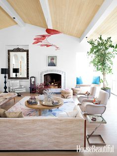 "For a ""clean, fresh"" look in a Malibu living room, walls are painted Benjamin Moore's Simply White. Design: Nickey Kehoe."