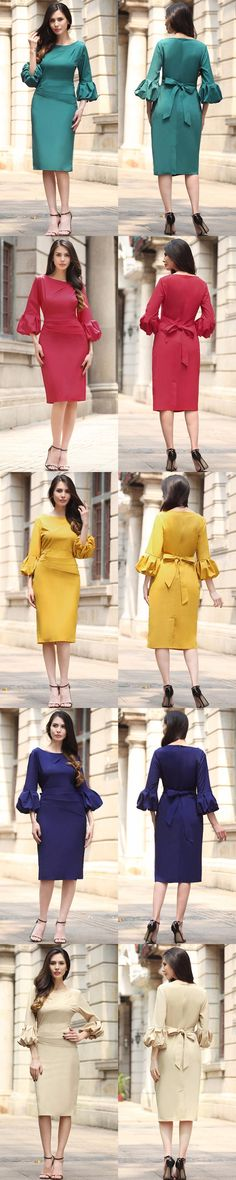 Womens fashion elegant Dresses Women half Sleeves lantern sleeve dress ladies summer O-neck womens clothing w527