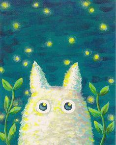 Purchased - Chibi Totoro - White Totoro - Totoro at Night Series - 8x10 Print