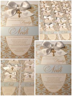 Baptism Invitations Cute Baby Boy Baptism Invitations with Bow Gold and baby blue damask Baptism Invitation For Boys, Baptism Favors, Baptism Party, Baptism Ideas, Christening Invitations Boy, Baby Boy Christening, Baptism Decorations, Baby Dedication, First Holy Communion