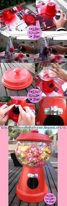 "DIY ""gumball machine"" candy holder"