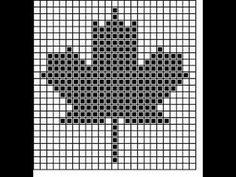 pattern of maple leaf (crochet) Crochet Quilt, Tapestry Crochet, Afghan Crochet Patterns, Crochet Chart, Crochet Squares, Knit Crochet, Crochet Baby, Leaf Knitting Pattern, Knitting Charts