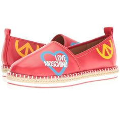 LOVE Moschino Cut Out Logo Espadrille (Red) Women's Shoes (6,720 PHP) ❤ liked on Polyvore featuring shoes, sandals, red espadrilles, love moschino shoes, red shoes, red platform sandals and red platform shoes