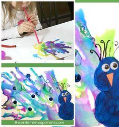Szívószállal fújt páva festmény - kreatív ötlet gyerekeknek