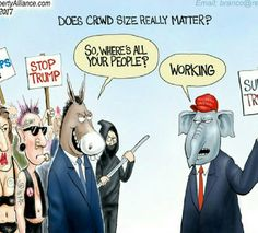 We've heard much talk about crowd size Left vs Right and that the left's crowd is larger. Could the reason be work ethic. Political cartoon by A. Branco A. Branco cartoons here. Political Satire, Political Views, Political Cartoons, Funny Politics, Caricatures, Conservative Humor, Liberal Logic, Stupid Liberals, Out Of Touch
