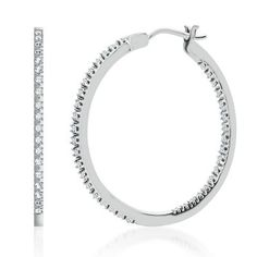Smart Value® 1/4ct TW Hoop Diamond Earrings available at #HelzbergDiamonds