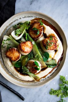 Seared Scallops with Celery Root Puree & Bok Choy, a healthy & decadent meal that's simple to make any night of the week - The Original Dish, www.theoriginaldish.com...