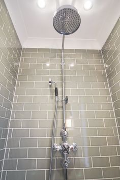This powerful full body shower ensures our customer can enjoy the height of luxury bathing. The grey metro tiles are the ideal complement to the Victorian fitted shower unit. Gray Bathroom Walls, Bathroom Shower Doors, Small Bathroom With Shower, Steam Showers Bathroom, Bathroom Wall Decor, Shower Rooms, Bathroom Ideas, Power Shower, Body Shower