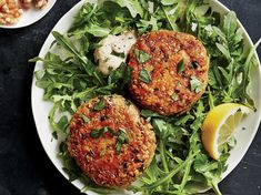 Crispy Tuna Cakes | Our tasty riff on crab cakes adds an unexpected layer of decadence to packaged tuna. Crisp and golden on the outside, and soft and flaky throughout, this protein-packed lunch comes together in just 15 minutes. Tuna is an excellent source of protein and heart-healthy omega-3 fatty acids. We use old-fashioned oats in place of breadcrumbs to sneak in some whole grains. For a little extra oomph, serve these cakes over a bed of greens with leftover Tahini Dressing.