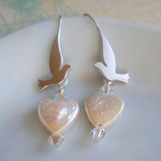 Earrings Pearls and Silver Birds by rhealeanne on Etsy, $22.00