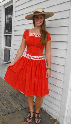 Vintage Red Dress 50s 60s Vicky Vaughn Junior XS by soulrust, $69.99