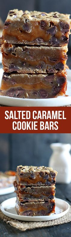 Salted Caramel Cookie Bars feature two layers of chocolate chip cookie sandwiching a thick layer of easy salted caramel for the perfect salty sweet treat.