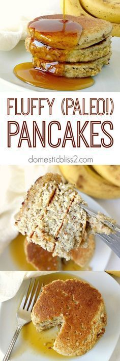 Domestic Bliss Squared: Easy, fluffy paleo pancakes recipe - 1/2 cup coconut flour, 8 eggs, 1 banana, 1 tbsp flax