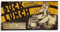 Duck Lunch Candy wrapper 1930's or 1940's