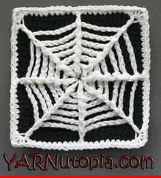 The Web We Weave Granny Square | Use surface stitches on an all black granny square to achieve this spoooky effect!