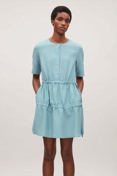 COS image 2 of Drawstring silk dress in Aqua