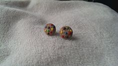 M&M cookie stud earrings polymer clay by TinySnackCreations
