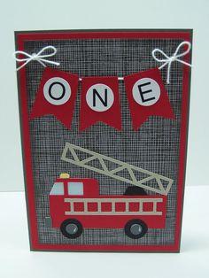 Handmade Birthday Card: Fire Truck Birthday by DawnsGreetingCards