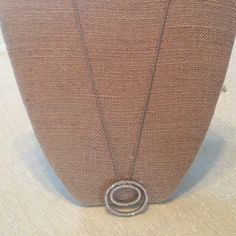 """Double circle pendant necklace. Silver 10"""" double circle w/rhinestones. In great condition. Classic design. Dress up or down.       031815 Jewelry Necklaces"""