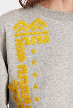 Staring at Stars Towelling Placement Sweatshirt in Grey