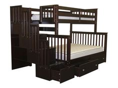 Bunk Bed Twin over Full Stairway Cappuccino with Drawers for only $925