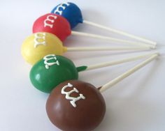 MM cake pops...why didn't I think of that? so clever and cute!