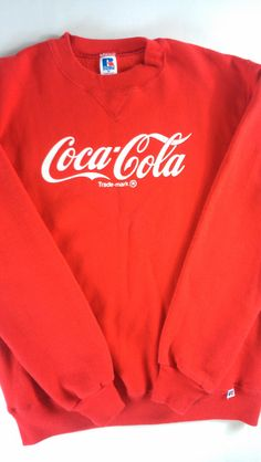 c8df9853a8d90 Coca Cola Sweatshirt Russell Athletic USA Made Adult SZ M Mens Womens Coke  Red Long Sleeve Pullover