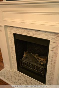 fireplace makeover - from Craftsman to Traditional - with tile toned down - 2
