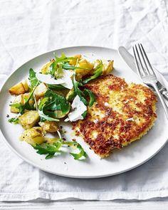 Chicken milanese with crispy potatoes and rocket Rigatoni, Rocket Recipes, Delicious Magazine Recipes, Pesto, Milanese Recipe, Fried Chicken Breast, Chicken Breasts, Chicken Milanese, Cooking Recipes