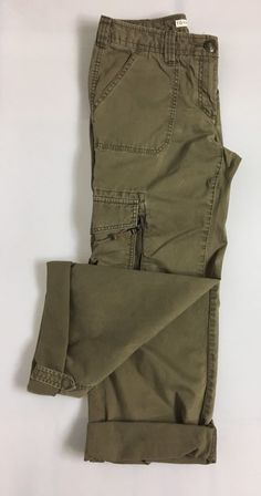TOMMY HILFIGER Womens Cargo Capri Size 6 / 100% Cotton Brown Adjustable Pants #TommyHilfiger #CaprisCropped