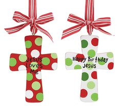"""Wooden cross ornament with messages: Jesus loves me and Happy Birthday Jesus.5 1/2""""H X 4 1/2""""W.6 Assortments of 2. Total of 12."""