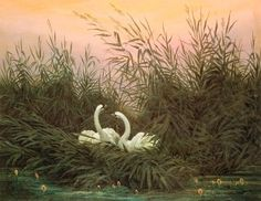 "Caspar David Friedrich ""Swans in the Reeds at Dawn"", 1832 (Germany, Romanticism, 19th cent.)"