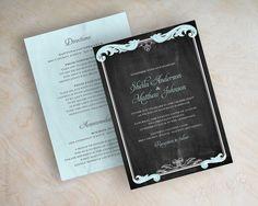 Light blue, charcoal gray, vintage style, country chic chalkboard, blackboard wedding invitations, vintage blackboard wedding invitation, Wendy. By appleberryink, $1.00