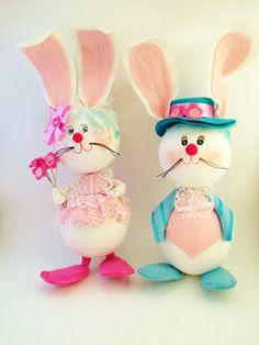 Vintage Mr Mrs Rabbit Easter Decor Styrofoam Easter by Comforte, $20.00