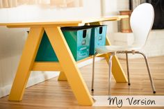 Adorable kid's table. I need to make one for a sewing table for me. I think the bins underneath would be perfect for current projects that are cut out and maybe a mending bin.