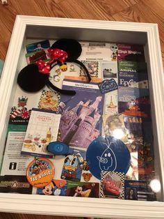 Disney Vacation Shirts, Disneyland Vacation, Disney Vacations, Disney Trips, Disney On A Budget, Disney Diy, Disney Crafts, Disney Shadow Box, Travel Shadow Boxes