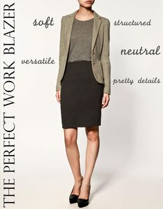 Dress professionally with a blazer.  Watch hem length....can you comfortably sit in this skirt without showing too much thigh?