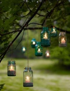 Mason jar lights. Hang them from various trees around the yard for different levels of light, kind of adorable :)